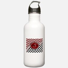 Red and Black Chevron Water Bottle