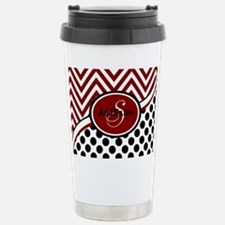 Red and Black Chevron D Stainless Steel Travel Mug