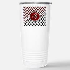 Red and Black Chevron D Travel Mug