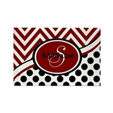 Red and Black Chevron Dots Rectangle Magnet