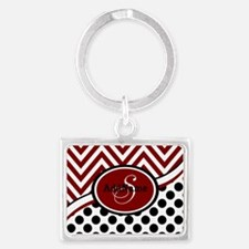 Red and Black Chevron Dots Landscape Keychain