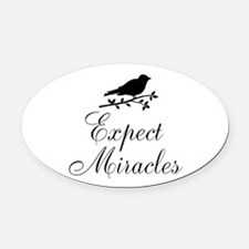Expect Miracles Black Bird Oval Car Magnet
