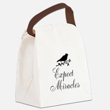 Expect Miracles Black Bird Canvas Lunch Bag