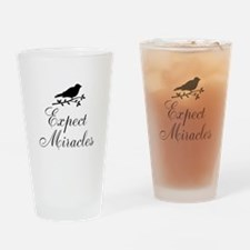 Expect Miracles Black Bird Drinking Glass
