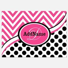 Black White Chevron Bright Pink Mon Invitations