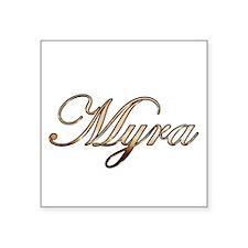 "Gold Myra Square Sticker 3"" x 3"""