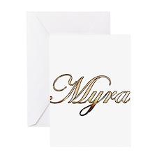 Gold Myra Greeting Cards