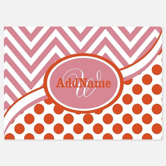 Pink Tangerine Dots Chevron Monogra Invitations