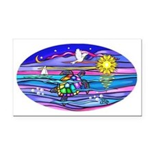 Oval-Sea Turtle 4 Rectangle Car Magnet
