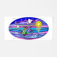 Oval-Sea Turtle 4 Aluminum License Plate