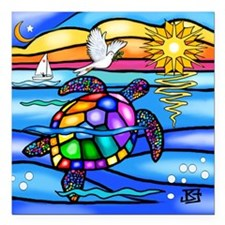 "Funny Turtle Square Car Magnet 3"" x 3"""