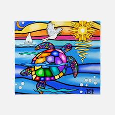 Cute Colorful turtle Throw Blanket