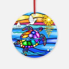 Unique Colorful turtle Round Ornament