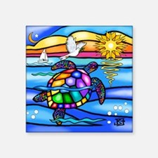 "Unique Cute turtle Square Sticker 3"" x 3"""