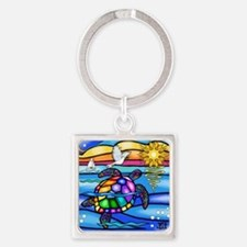 Cute Colorful turtle Square Keychain