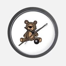 Billiards Teddy Bear Wall Clock