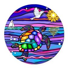 Cool Turtle Round Car Magnet