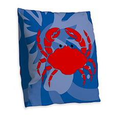 Crab Burlap Throw Pillow