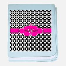 Black Pink Cute Pattern Monogram baby blanket