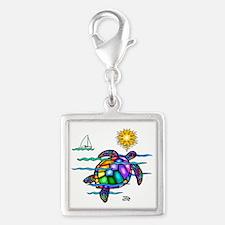 Sea Turtle (nobk) Silver Square Charm