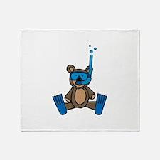 Scuba Teddy Bear Throw Blanket