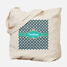 Aqua Turquoise Custom Personalized Monogr Tote Bag