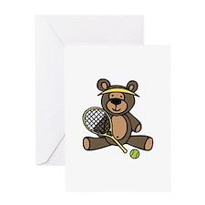 Tennis Teddy Bear Greeting Cards