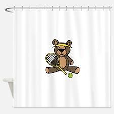 Tennis Teddy Bear Shower Curtain