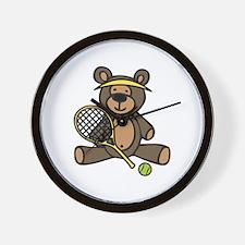 Tennis Teddy Bear Wall Clock
