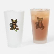 Tennis Teddy Bear Drinking Glass