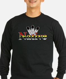 Native text with Eagle Feathers Long Sleeve T-Shir