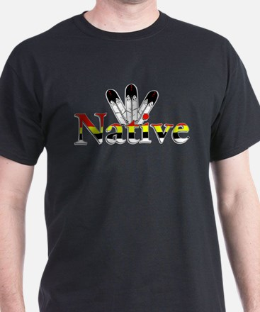 Native text with Eagle Feathers T-Shirt
