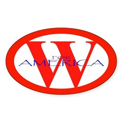 W for America '04 Oval Decal