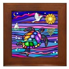 Sea Turtle #4 Framed Tile