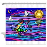 Colorful sea turtle Shower Curtains
