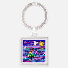 Sea Turtle #4 Square Keychain