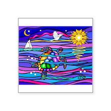 """Sea Turtle #4 Square Sticker 3"""" x 3"""""""