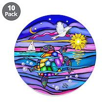 "Sea Turtle #4 3.5"" Button (10 pack)"