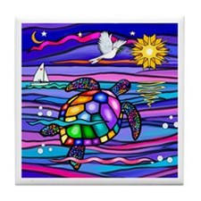 Sea Turtle #4 Tile Coaster
