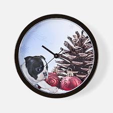 Christmas Boston Terrier Wall Clock