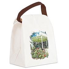 Rose garden gazebo Canvas Lunch Bag