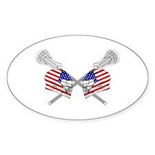 Two Lacrosse Helmets Bumper Stickers