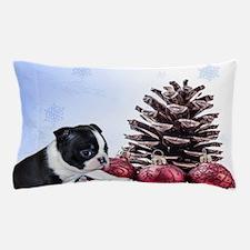 Christmas Boston Terrier Pillow Case