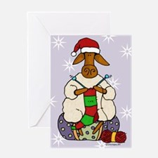 knitting sheep Greeting Cards