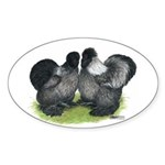 Gray Silkies Oval Sticker