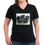 Gray Silkies Women's V-Neck Dark T-Shirt