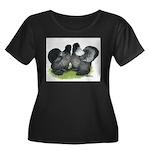Gray Silkies Women's Plus Size Scoop Neck Dark T-S