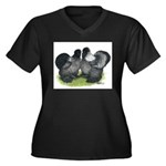 Gray Silkies Women's Plus Size V-Neck Dark T-Shirt