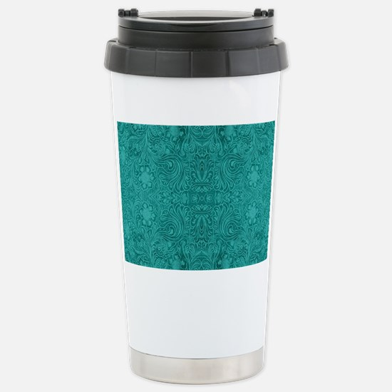 Blue-Green Suede Leathe Stainless Steel Travel Mug
