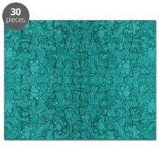Blue-Green Suede Leather Look Embossed Flor Puzzle